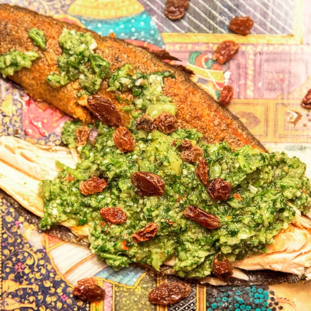sq roasted trout with chermoula