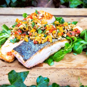 sq salmon with roasted pepper and nut salsa
